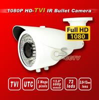 Free shiping TVI F90 1080P 1/2.8 sony 2M Sensor security TVI camera 72IR 2M 2.8-12mm Lens bullet HD-TVI cctv camera white