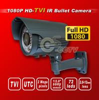Free shipping TVI F901080P 1/2.8 Sony 2M Exmor Sensor security TVI camera 72IR 2.8-12MM 2M lens  HD-TVI bullet cctv camera gray