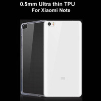 0.5mm Ultra Thin Transparent High Clear TPU Cover Phone Case For Xiaomi Note