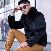 Men's clothing fur 2014 male fur rabbit fur winter coat slim male