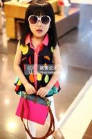 wholesale(5pcs/lot)-summer dot shirt for child girl