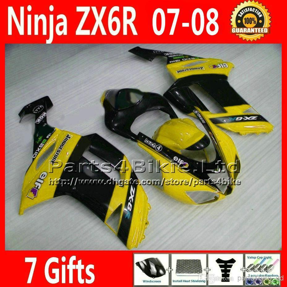 bodywork sets for 07 08 Kawasaki Ninja fairings 636 ZX 6R ZX636 ZX6R 2007 2008 yellow black fairing kits XR59 +7 gifts(China (Mainland))
