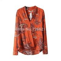 2015 New Fashion Ladies' Elegant vintage floral print blouses stylish V neck long sleeve OL shirts casual slim brand tops women