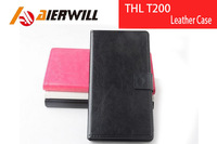 High Quality New For THL T200 Leather Case With Wallet Flip Case Protective Cover For THL T200c Smart Phone Black In Stock