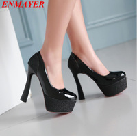 ENMAYER 2015 new women pumps Casual Plain Round Toe Platform pumps Thin Heels Classics Slip-On Spring / Autumn black pumps