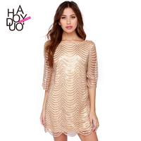 Fashion elegant gold wave 2290 hangings lining cutout haoduoyi one-piece dress