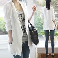 Free Shipping ! Women's Blazer 2015 Spring Summer  , Medium-Long Thin Korean One Button loose Linen Suit