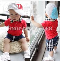 Free shipping Summer bebe clothing set baby boy set short Plaid O-neck sets toddler boys girl baby suit baby set