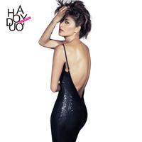 Paillette slim hip slim spaghetti strap one-piece dress sexy dress luxury racerback haoduoyi