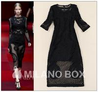 Fashion noble embroidered 2015 hand-cranked disk flowers royal slim medium-long gauze wind BLACK one-piece dress
