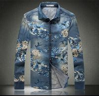 Mens shirts Cowboy men's shirt 2015 autumn winter Casual flowers printed Denim outwear male cotton plus size 5XL jean shirts