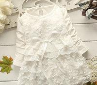 4pcs/lot spring autumn baby gril dress long sleeve flower one-pieces dresses kids clothes princess dress