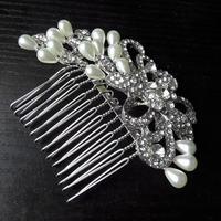 Rhinestone Wedding Hair Comb Pearl Jewelry Flower Bridal Comb For Hair Jewelry Crystal Headpiece Ornaments WIGO0408