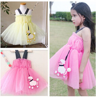 2015 New Children clothes summer kids cotton  gallus  dress baby girls sweet  princess  dress 5pcs/lot
