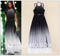 Fashion summer gradient elegant sexy placketing elegant expansion bottom halter-neck one-piece chiffon dress