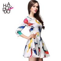 Flowerier multicolour tropical print fifth sleeve half sleeve high waist a-line skirt dress one-piece dress haoduoyi