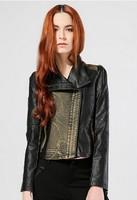 2015 free shipping Europe and America style women's short jacket PU leather cowboy  stitching jacket