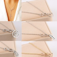 Stylist Fashion Women Infinity Silver Gold Plated Pendant Charm Chain Necklace Silver Heart