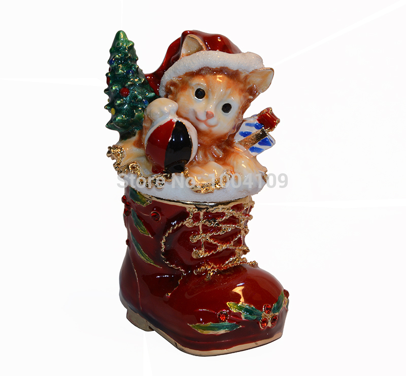 Christmas cat in the stocking animal jewerly box faberge trinket box metal crafts cat figurines birthday Christmas gifts