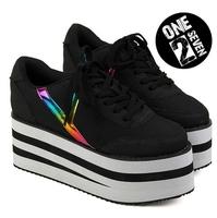 2015 Size 35-39 Japanese Harajuku Style Women Retro Trifle Platform Rainbow Laser Black & White Striped Canvas Sneakers 2453
