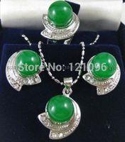 Green Jade Earrings Ring & Necklace Pendant Set AAA