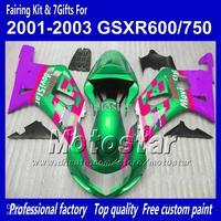 Body work fairings for SUZUKI GSXR 600 K1 2001 2002 2003 GSXR 750 01 02 03  green red Movistar fairing set QQ58