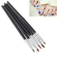 1Set/5pcs New 5pcs Flat Sable Brushes Pens Nail Art Paint Dot Detailed Tool 2# 4# 6# 8# 10 Rhinestone Decoration Dot Tool