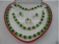 green jade necklace bracelet earring ring set