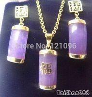 Purple Jade 18KGP Fortune Pendant Necklace Earrings Set