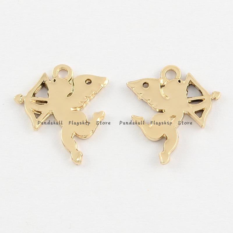 Alloy Cupid Pendants Golden 17x15 5x1mm Hole 1 5mm
