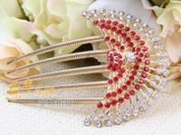 Free ship 9cm E123 Crystal girl flower peafowl hair combs rose wedding haipins rhinestone women bridal hair bands tiara jewelry