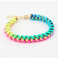 2015 New Arrival Women Fluorescent Color Handmade Weave Bracelet Jewellery Fashion Female Wrap Bracelets Pulseiras