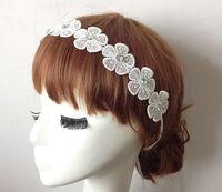 2015 new Wholesale fashion handmade bohemian flower lace chain with gems elastic headband hairbands hair accessories