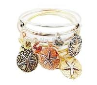 2015 Hot Bangles Alloy Rhinestone Starfish Alex and ani Charm Expandable Wire Finished Bracelet Bracelets For girls