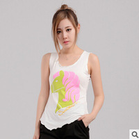 Free shipping Korean version new spring summer 2015 hot sale women printing sleeveless camisole bottoming shirt cheap wholesale