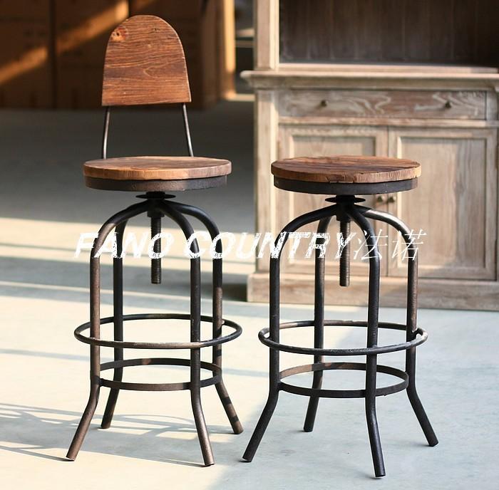 Quinta rústica de ferro + escova de madeira imitação feita de rusty velho bar retro bar fezes fezes bar fezes local rotação(China (Mainland))