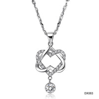 Pop explosion models include post jewelry double heart wound knot silver platinum plated necklace DX063