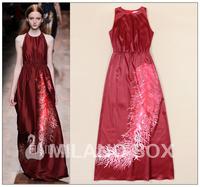 2015 summer fashion elegant royal elegant coral print one-piece dress Wine red evening dress/prom dress