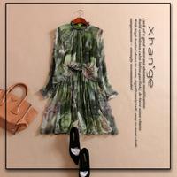 Free shipping! false two pieces silk dress 2015 spring o-neck long-sleeve elastic waist slim print silk one-piece dress c253936
