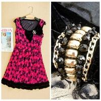 2015 autumn and spring women plus size loose velvet one-piece dress sleeveless bow woolen one-piece dress