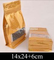 14*24+6cm Standup gold ziplock plastic bag,golden Ziplock flat bottom bellow pocket bag window plastic packing bag,100pcs/lot