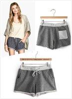 Women Middle Waist Shorts ladies Shorts Knitted Shorts Grey female shorts casual Sports Shorts hot new Fashion 2015