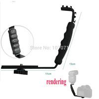 Tripod Heads Heavy Duty Photo Video L bracket with 2 Standard Hot Shoe Mount for Light Camera Flash Brackets