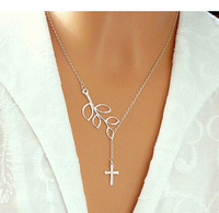 2015 hot sale fashion trade jewelry leaf extreme simplicity luck cross pendant necklace for women chain 80199