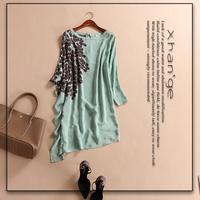 Free shipping! women's silk dress 2015 spring o-neck batwing sleeve loose irregular c254168 silk one-piece dress