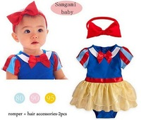 hot sale new 2015 Snow White short-sleeved baby girls rompers +Turban headdress twinset clothing sets,with cute blow and skirt
