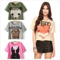 Ladies Cute Crop Tops Animal printed Tee Short sleeve Tops Plus size Women Causal T shirt Novelty tops ladies tops Hot Sale 2015