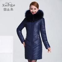 2014 luxury large fur collar medium-long thickening plus size down coat female yrf outerwear 1836