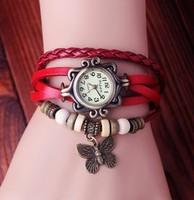 Genuine Cow leather strape analog watch wholesale fashion vintage butterfly tage wrist watch women ladies wristwatches  KOW045