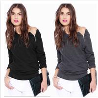 2014 autumn fashion long-sleeve thin side zipper sweatshirt outerwear